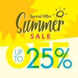 Venda V ajustado do verão projeto amarelo do título de 2 25 por cento para o banne Fotografia de Stock Royalty Free