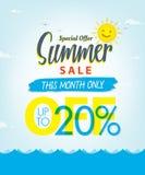 Venda V ajustado do verão projeto azul do título de 3 20 por cento para a bandeira ou Foto de Stock Royalty Free