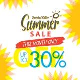 Venda V ajustado do verão projeto colorido do título de 4 30 por cento para o banne ilustração royalty free