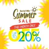 Venda V ajustado do verão projeto colorido do título de 4 20 por cento para o banne ilustração stock