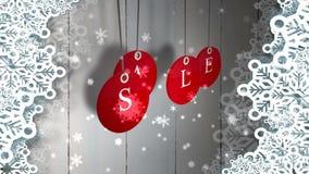 A venda vermelha etiqueta a suspensão contra a madeira com a beira festiva ilustração royalty free