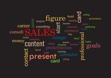 vendas Colagem do fundo preto das palavras Ilustração Royalty Free