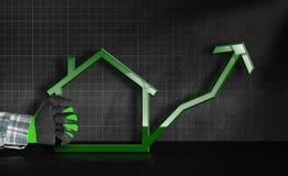 Vendas crescentes de Real Estate - gráfico com casa Foto de Stock Royalty Free