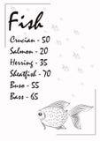 Vendas da brochura dos peixes para a loja Imagens de Stock Royalty Free
