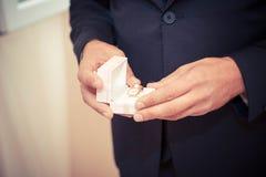 Vendas de boda en el rectángulo imagen de archivo