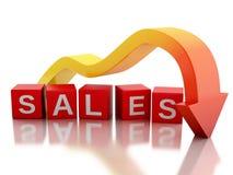 vendas de queda do valor da seta 3d vermelha Fotos de Stock