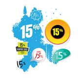Vendas do vetor e por cento da ilustração No fundo branco proibição Foto de Stock