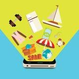 Vendas dos bens através do dispositivo móvel Foto de Stock