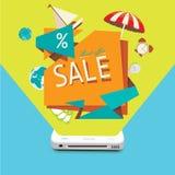 Vendas dos bens através do dispositivo móvel Fotografia de Stock
