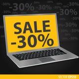Vendas dos portáteis Fundo preto com portáteis Imagem de Stock