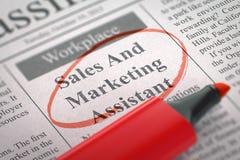 Vendas e assistente do mercado que contrata agora 3d Imagem de Stock