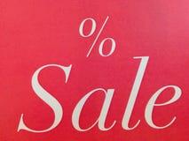 Vendas zero dos por cento no fundo vermelho Fotografia de Stock Royalty Free