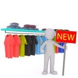 Vendedor Advertising New Stock en tienda de ropa Fotos de archivo