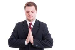 Vendedor, advogado, homem de negócios ou contador rezando o gesto imagem de stock