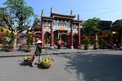 Vendedor ambulante na cidade antiga de Hoian, Vietname Fotografia de Stock