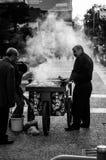 Vendedor asado a la parrilla de las castañas Imagenes de archivo