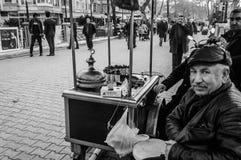 Vendedor asado a la parrilla de las castañas Imagen de archivo libre de regalías