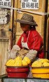 Vendedor chinês que vende frutos frescos na rua fotos de stock
