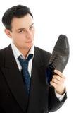 Vendedor com o carregador de couro preto Fotografia de Stock