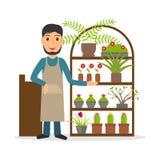 Vendedor da flor no contador Imagem de Stock