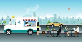 Vendedor de alimento móvel cor-de-rosa ilustração royalty free