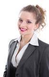 Vendedor de banco femenino - mujer aislada en el fondo blanco Imagen de archivo libre de regalías