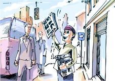 Vendedor de jornais Imagem de Stock