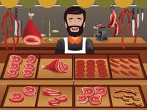 Vendedor de la carne en un mercado del granjero Foto de archivo libre de regalías