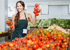 Vendedor de la hembra adulta que sostiene los tomates maduros frescos Foto de archivo libre de regalías