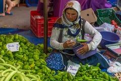 Vendedor de la mujer joven en mercado público Imagen de archivo libre de regalías