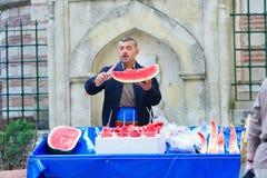 Vendedor de la sandía en Estambul Imagen de archivo libre de regalías