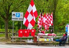 Vendedor de las banderas del fútbol de Perugia Foto de archivo