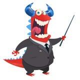 Vendedor de oficina feliz del monstruo de la historieta con una presentación del indicador Ilustración del vector Foto de archivo