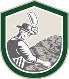 Vendedor de peixe Chop Fish Shield retro ilustração royalty free