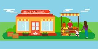 Vendedor de rua com ilustração do vetor das frutas e legumes da tenda Fotografia de Stock
