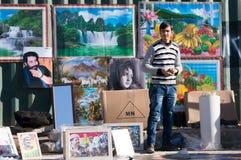 Vendedor do cartaz Foto de Stock