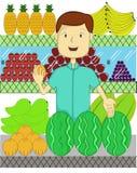 Vendedor do fruto com muitos tipo de desenhos animados dos frutos ilustração do vetor