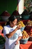 Vendedor do fruto da mulher em uma vila pequena Curso em torno de Indonésia imagens de stock royalty free