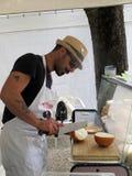 Vendedor do queijo Fotografia de Stock