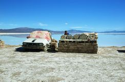 Vendedor en las salinas Grandes, la Argentina Foto de archivo