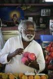 Vendedor hindú de frutas y de la verdura en el mercado cerca del bazar de Nala, Bangalore, Karnatak fotografía de archivo libre de regalías