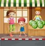 Vendedor y clientes de la fruta libre illustration