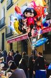 Vendedores do balão no Madri fotografia de stock royalty free