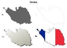 Vendee, Pays de la Loire outline map set. Vendee, Pays de la Loire blank detailed outline map set Stock Photo