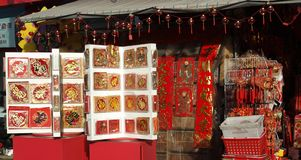 Vendendo cartões do ano novo por o ano novo chinês Imagem de Stock Royalty Free