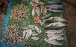 Vendendo i pesci di mare sopra la foglia Jakarta contenuta foto Indonesia della banana fotografie stock libere da diritti