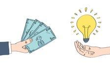 Vendendo a ideia para o dinheiro Fotografia de Stock Royalty Free