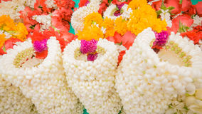 Vender selling flower garland thai style local market. Stock Photography