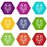 Vendetta mask icon set color hexahedron Stock Image