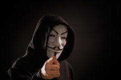 Vendetta mask - symbol for the online hacktivist group Anonymous Stock Photo